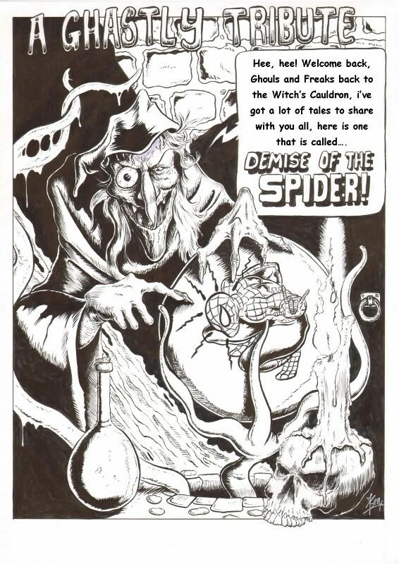 """Tribute tekening voor EC comics tekenaar Graham Ingels die zijn verhalen singeerde met """"ghastly"""""""