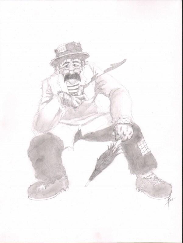 Potlood tekening van Tom Manders typetje Dorus