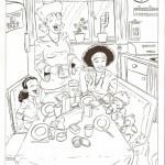 Een familie aan het ontbijt.