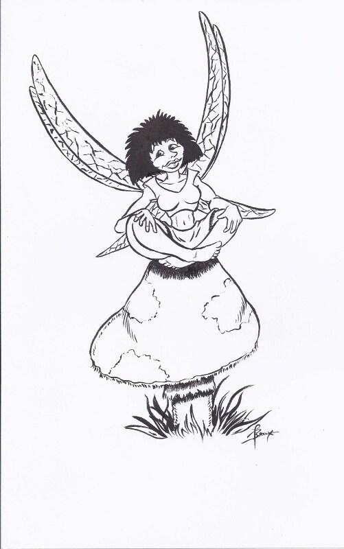 Een van de twee elfjes die ik had getekend voor een collega zijn dochter