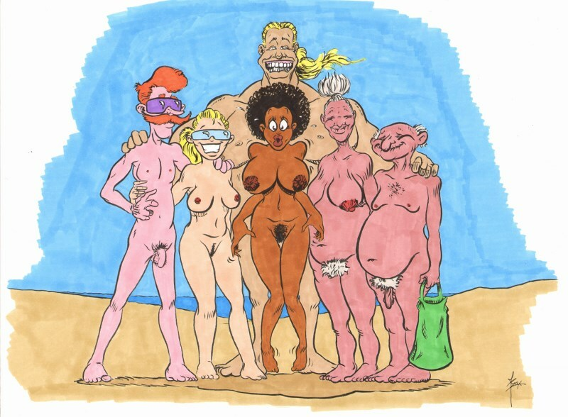 Meeting new friends on a nudebeach