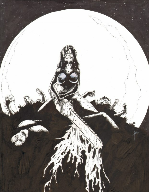Naked Zombiegirl with a Chainsaw 1