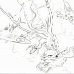 R.A.F. vs Dragons B-W linedrawing