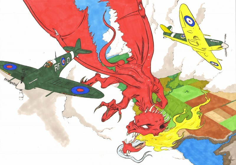 R.A.F. vs Dragons coloured