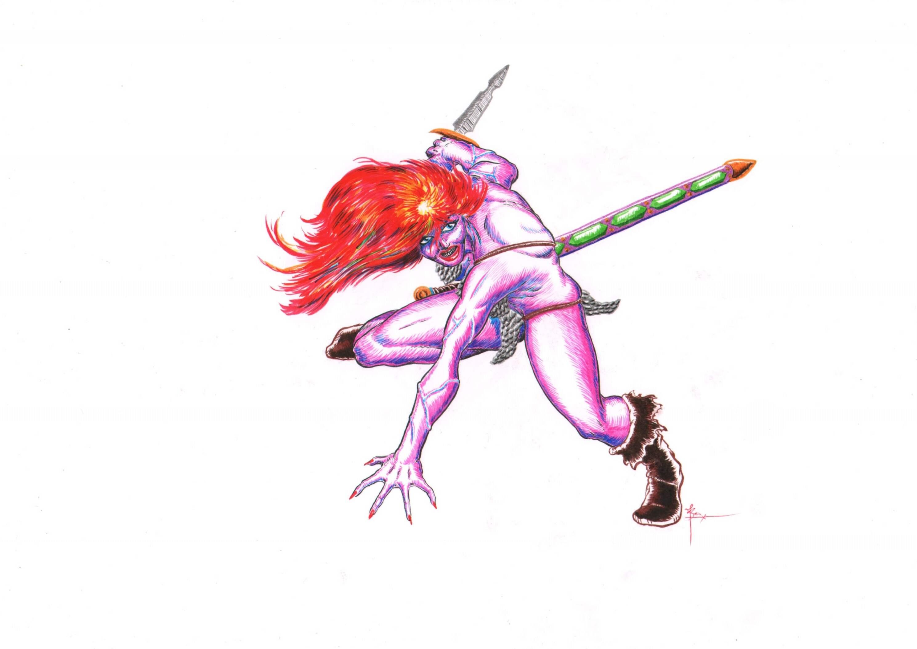 Wilde proberen om de stijl van Don Lawrence te gebruiken om deze tekening in the kleuren